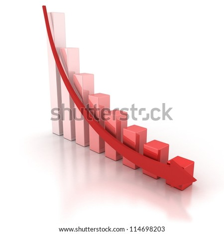 Red Crisis Business Graph with Falling Arrow