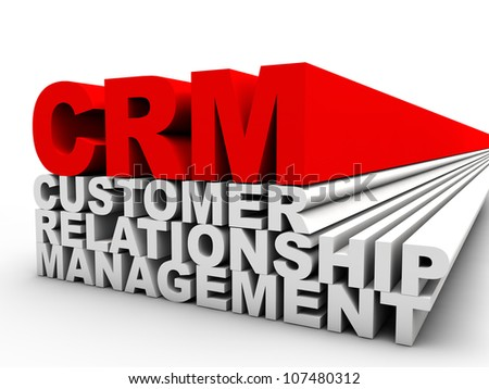 red CRM Customer Relationship Management over white background