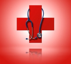 Red cross as a symbol of medical health. With hanging stethoscope and reflex. Frontal view