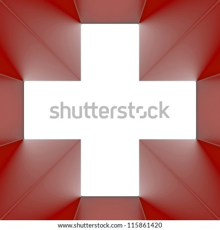 Red cross. 3d render abstraction
