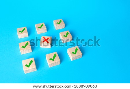 Red cross disturbs order of block structure. Violation contract terms, termination of deal. Artificial bureaucratic corruption obstacles. Failure to comply with all conditions. System vulnerability Stock photo ©