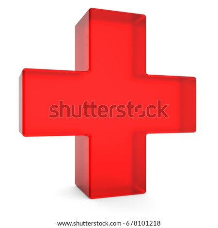 Red cross isolated on white background 3D rendering