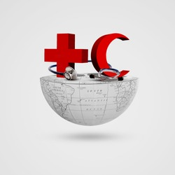 Red Cross, Red Crescent, stethoscope on half earth, World Red Cross and Red Crescent Day, May 8, Cross , Crescent,