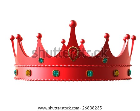 Red crown with diamonds isolated on white background