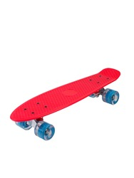 Red cruiser longboard skateboard plastboard with blue wheels isolated on white background, front view