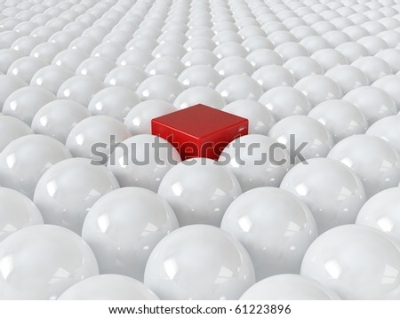 Red cube among white spheres, standing out in the crowd concept