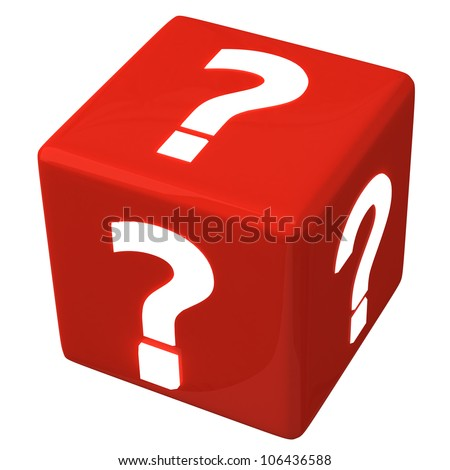 Red cube with question marks 3d