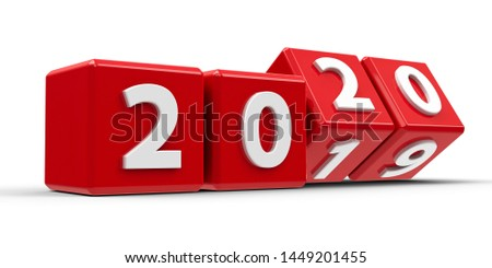 Red cubes with 2019-2020 change on a white table represents the new 2020, three-dimensional rendering, 3D illustration