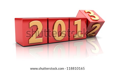 Red cubes with number 2012 change on 2013