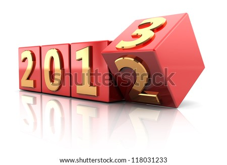 Red cubes with number of beginning new year