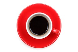 Red cup of hot coffee top view