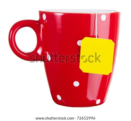 Red cup of tea isolated on white - stock photo