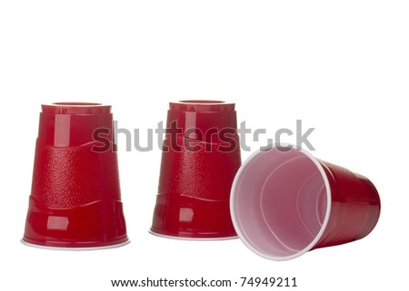 Red cups isolated on a white background. - stock photo