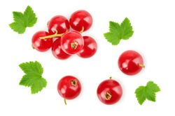 Red currant berry isolated on white background. Top view. Flat lay pattern
