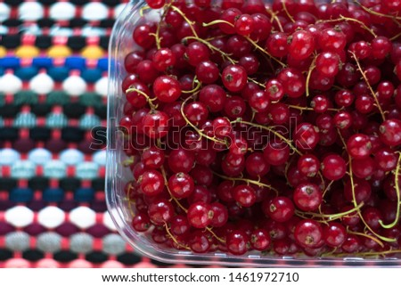 Red currant in a box on a colourful fabric background. Tasty fresh berries, vitamins, vegan, natural, raw food. Healthy diet. Copy space, top view. #1461972710