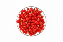 Red currants in a plate on a white background. Top view, vertical frame.