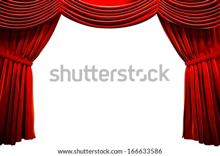 Red Curtain In A Theater, Ad Concept With Empty Space