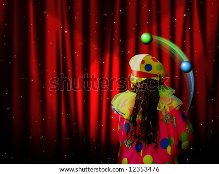Red curtain of stage with stars and juggler clown