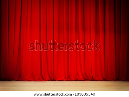 red curtain of theater stage