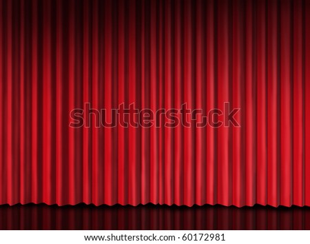 red curtain on theater stage