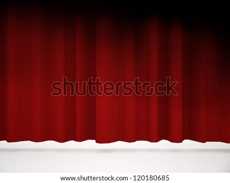 Red curtain rendered