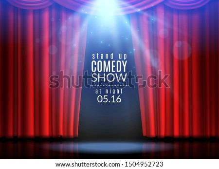 Red curtain scene. Stage open curtains theater opera cinema show broadway cabaret club spotlight awards event fabric, creative backdrop