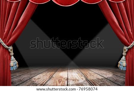 Red curtain stage and spotlight