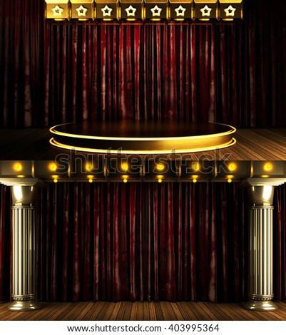 red curtain stage with gold and lights. 3D illustration - Shutterstock ID 403995364
