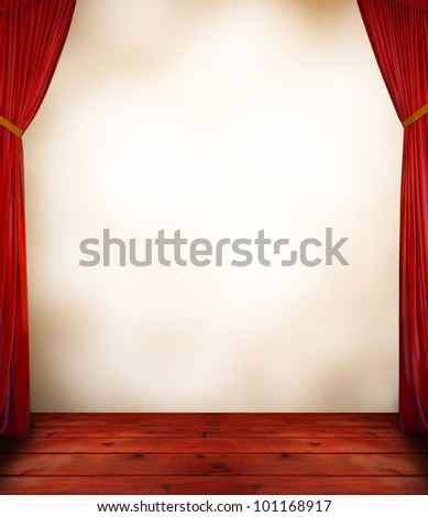 Red curtain with blank background - stock photo
