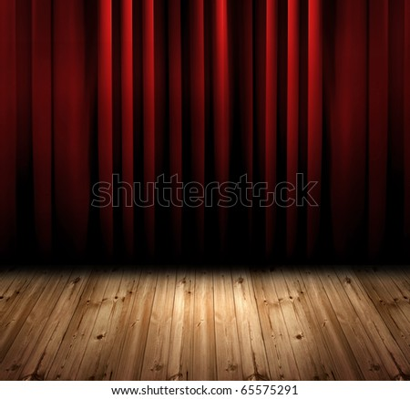 red curtain with oak floor