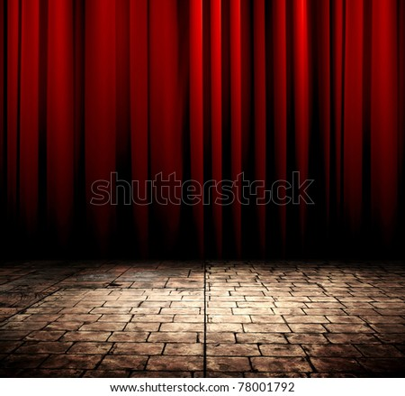 Red curtain with stone floor