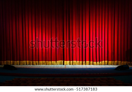 Red curtains in a theater scene of the show. Closed theater curtain of red velvet, texture, background. Stock photo ©