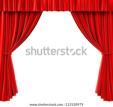red curtains on a white background - stock photo