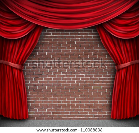 Red curtains or velvet drapes on an old rustic brick wall as a theatrical stage for theater and stand up comedy performance.