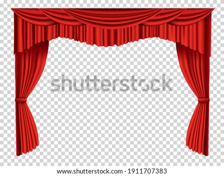 Red curtains realistic. Theater fabric silk decoration for movie cinema or opera hall. Curtains and draperies interior decoration object. Isolated on transparent for theater stage