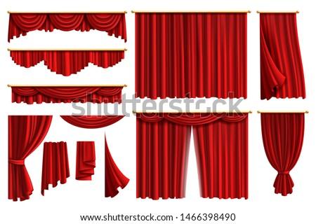 Red curtains. Set realistic luxury curtain cornice decor domestic fabric interior drapery textile lambrequin, illustration curtaine set