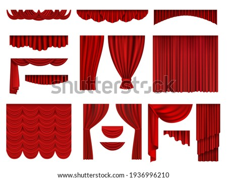 Red curtains. Textile theatrical opera scenes decoration curtains realistic collection set