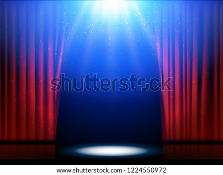 Red curtains theater scene stage backdrop.  show background performance concert. Light party design of stage.