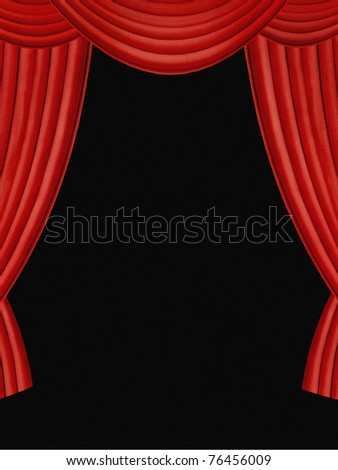 Red curtains with black background