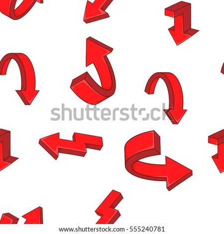 Red curved arrows pattern. Cartoon illustration of red curved arrows  pattern for web