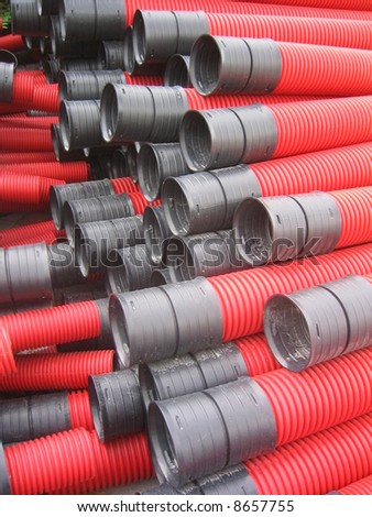 Red curvilinear tubes for construction