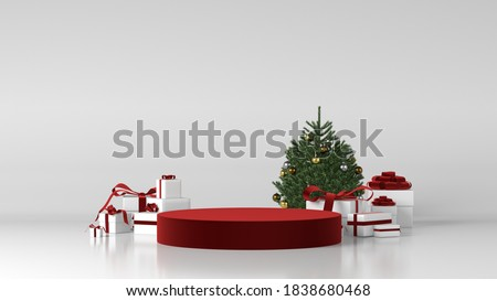 Red cylinder podium in christmas background. decor by christmas tree, gift boxes, ribbon. concept scene stage showcase, product, perfume, promotion sale,  presentation, cosmetic. 3D render