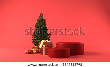 Red cylinder podium in christmas background. decor by christmas tree, gift boxes, ribbon. concept scene stage showcase, product, perfume, promotion sale,  presentation, cosmetic. 3D render Foto d'archivio ©