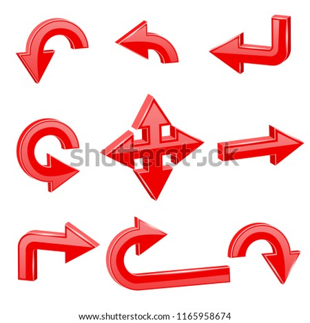 Red 3d arrows. Different directions. Illustration isolated on white background. Raster version