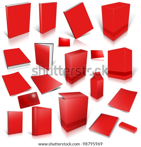 Red 3d blank cover collection, isolated on white