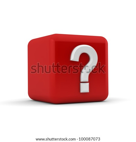 Red 3d block with a white question mark