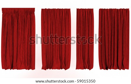 red 3d curtain on the white background