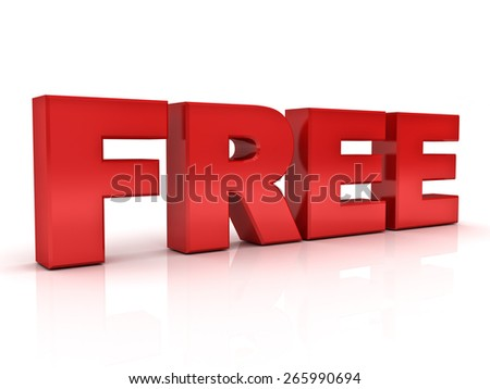 Red 3d free word isolated over white background with reflection