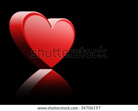 Red 3d hearth over black background. Abstract illustration