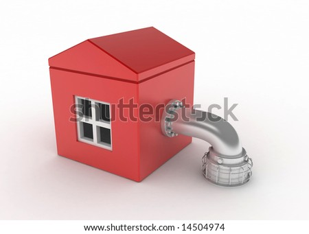 Red 3d house with a pipe, isolated